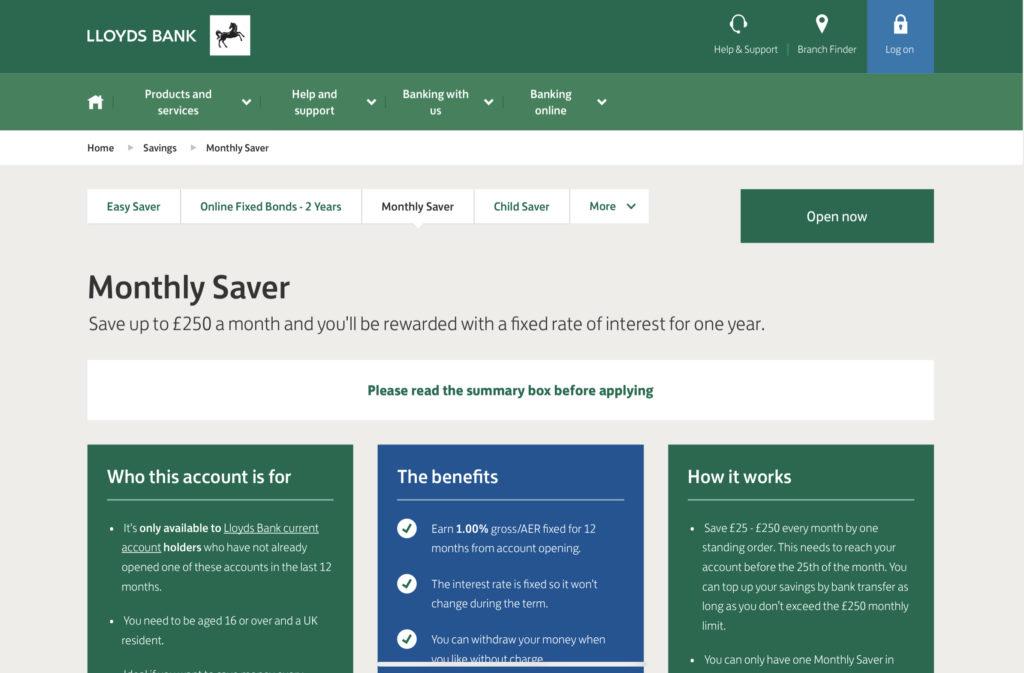 Lloyds Bank Montly Saver