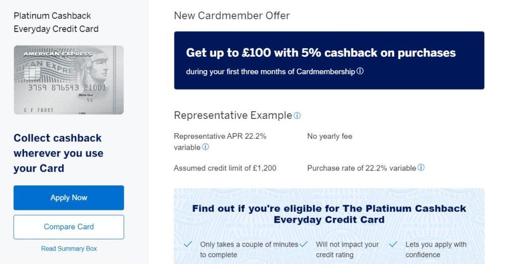 Platinum Cashback Everyday Credit Card