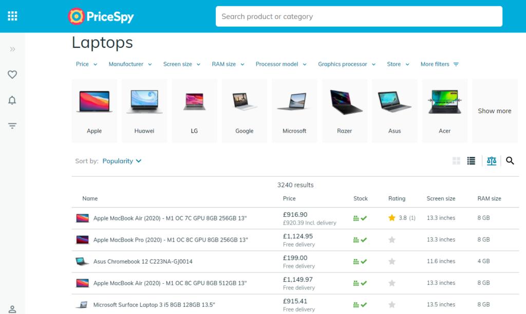 PriceSpyの使い方①:欲しい製品の絞り込み