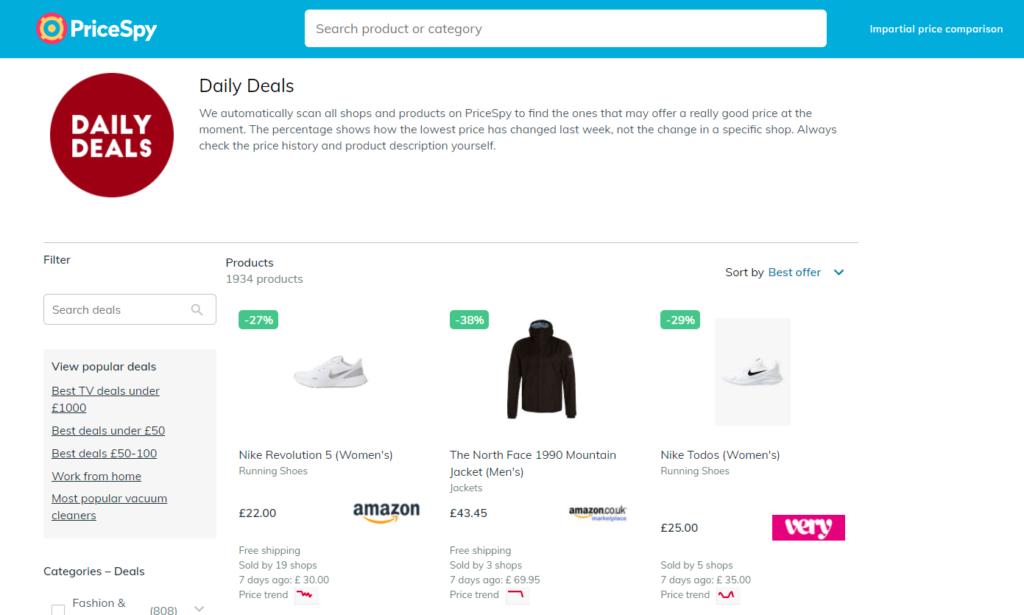 "PriceSpyの使い方③:""Daily Deals""でその日のセール情報を確認2"
