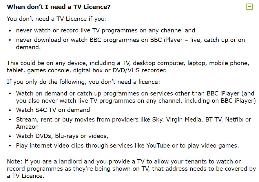 テレビライセンスが不要となる条件